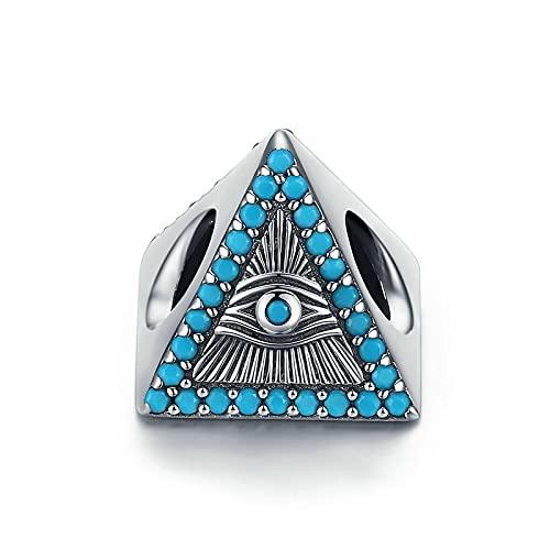 LISHOU Magic Eye Blue Zircon Pyramid Beads 100% 925 Sterling Silver Charms Colgantes para La Fabricación De Joyas Se Adapta Al Brazalete De Pulseras Originales De Europa