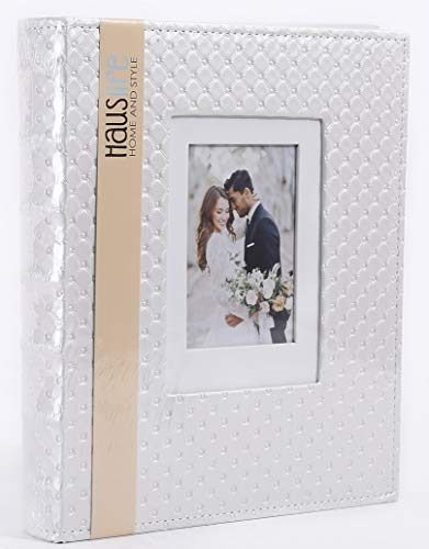 N/M Photo Album 4x6 3x5 5x7 480 Photos, Extra Large Capacity Leather Cover Wedding Family Picture Albums Holds 480 Horizontal and Vertical Photos with Black Pages (500, White)