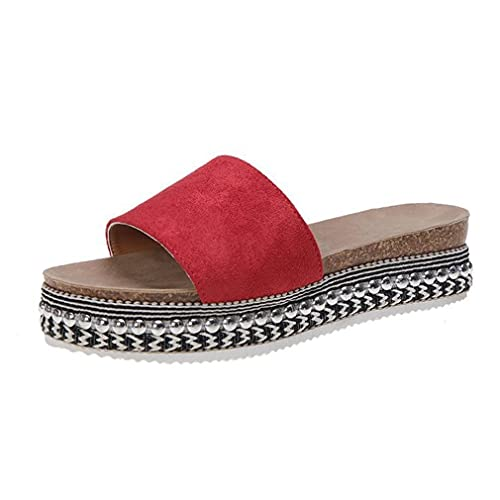 2020 Verano De Talla Grande Diaria Casual De Color Sólido De Tacón Plano Zapatillas De Suela Gruesa Sandalias De Mujer Rosa Roja