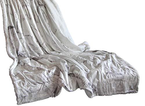 Quantum Interior Photoprint- Wendedecke, Design Marmor-Dekor, ca. 150x200cm, Kuscheldecke Vorderseite Bedruckt Marmor-Dekor, Rückseite Flauschiger Sheep-Optik, 100% Polyester