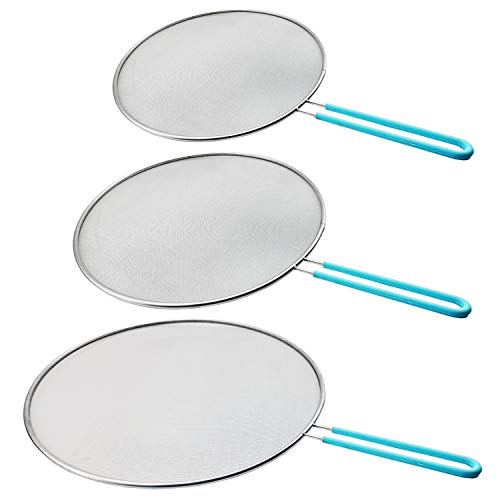 Antallcky 3 Pack Grease Splatter Screen for Frying Pan with Blue Silicone...