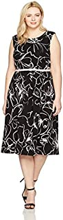 Julian Taylor Women's Plus Size Full Figured Belted Ottoman Dress