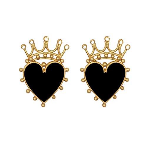 6Wcveuebuc Pendientes de tuerca con forma de corazón y corona esmaltada, para mujer, joyería de moda