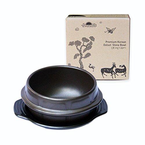 Crazy Korean Cooking Korean Stone Bowl (Dolsot), Sizzling Hot Pot für Bibimbap und Suppe – Premium Keramik (klein – ohne Deckel)