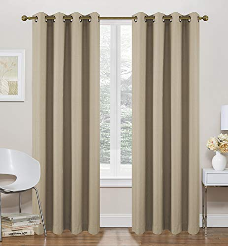 """Ruthy's Textile Sand Thermal Lined Curtains - 2 x 52"""" x 84"""" Panels, Grommet Top - Foamback, Energy Efficient, Noise Reducing, Room Darkening Solid Drapes – for Bedrooms and Living Rooms"""