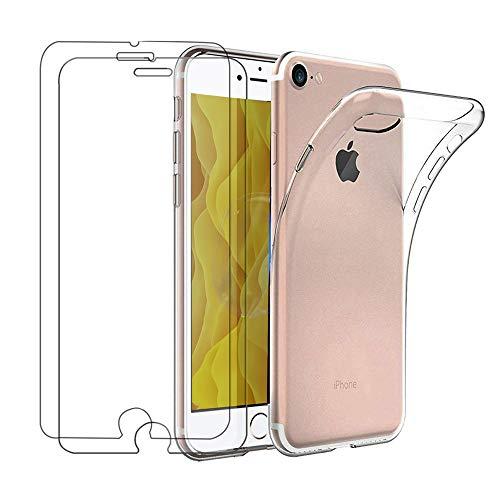 Casecool Funda + Cristal para iPhone 6S/iPhone 6, Transparente TPU Silicona Funda + 2 x Vidrio Templado Protector de Pantalla Choque Ultra Thin Anti Arañazos Choque Absorción