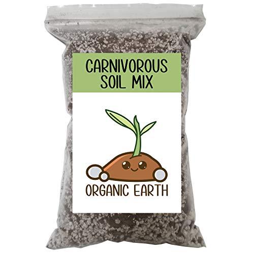 Organic Earth - Carnivorous Plant Soil Mix [1 qt] – Organic Soil Carnivorous Plant Food - Peat Moss and Perlite for Plants – Terrarium Soil, Pitcher Plant Soil, Venus Fly Trap Soil, Sphagnum Moss