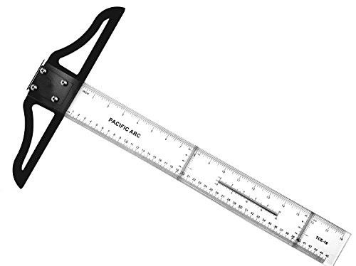 Pacific Arc 24 Inch T Square, Traditional Acrylic Graduated in Inch and Metric, Detachable Head