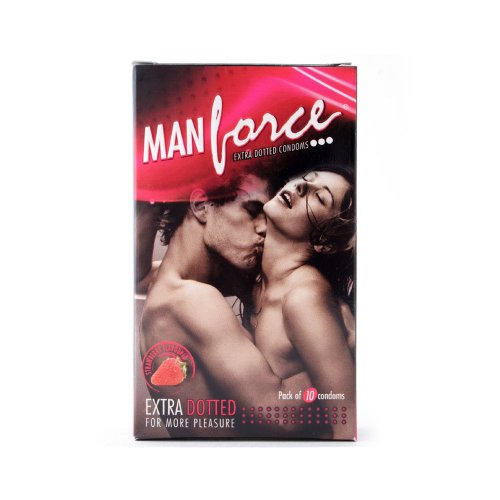 Manforce Extra Dotted Condoms -Strawberry Flavoured