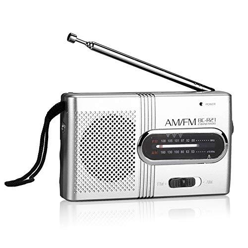 Ahagut Tragbare Mini-Radios AM FM BC-R21 Empfänger Teleskopantenne Pocket Radio Weltempfänger Lautsprecher Batteriebetrieben