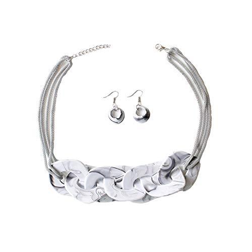 Yazilind Halskette Ohrringe Acryl Kette Schnalle Elegante Damen Schmuck Set Halskette + Ohrringe für Muttertag Weiß
