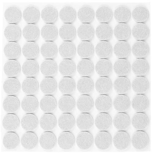 Filzada® 64x Patins en feutre auto-adhésifs - Ø 20 mm (rond) - Blanc - Patins en feutre pour meubles professionnels Avec un pouvoir adhésif idéal