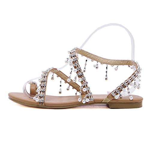 FengGa Women Summer Shoes Solid Bohemia Fashion Beaded Sandals Summer Shoes Party Sexy Pearl Flat Bottom Sandals Brown