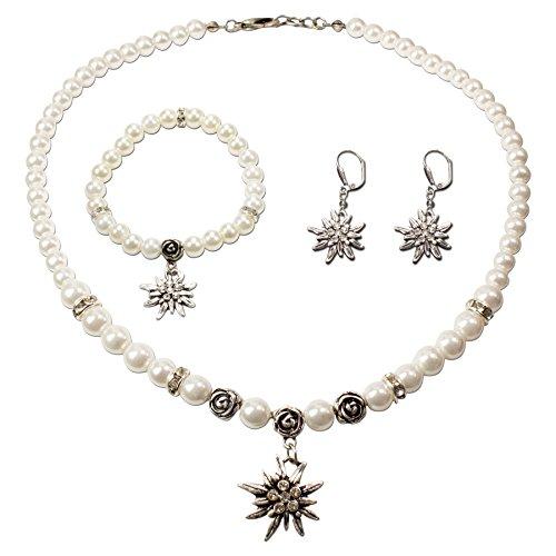Schmuckset Trachtenkette Perlenkette und Edelweiß-Armband und Ohrhänger - Damen Dirndlkette,Perlenarmband & Trachtenohrringe Strass-Edelweiss zur Trachtenbluse,Dirndl-Schmuck Oktoberfest (creme-weiß)