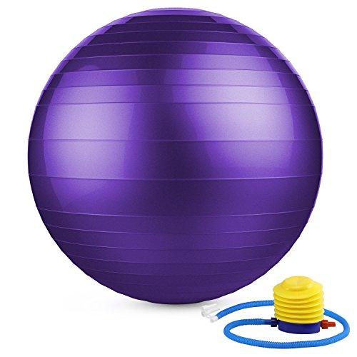 MoKo Pelota Pilates de 65cm, Balones de tonificación Extra Grueso Equipo Deportivo Antichoque para Yoga, Pilates, Gimnasio ect, Púrpura