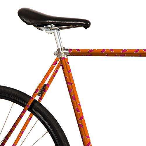 MOOXIBIKE Pink Melon Orange Mini Fahrradfolie mit Muster für Rennrad, MTB, Trekkingrad, Fixie, Hollandrad, Citybike, Scooter, Rollator für circa 13 cm Rahmenumfang