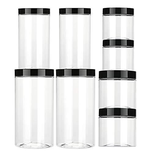 Aitsite Vaso de plástico con Tapa Botes de Polietileno Alimentario Recipiente Set con Tapa de Rosca para Alimentos, Transparente Botes Cocina Recipientes Slime Contenedor-8 Pack