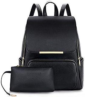 DSR PU Leather Stylish Ladies Backpack Handbag Shoulder Bag College Bag(DSR-121-black)
