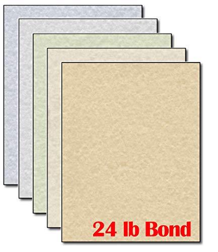 パーチメント文房具 ペーパーレターヘッド カラー詰め合わせ - 50シート - 24ポンド ボンドプリンター用紙 パーチメントデザイン
