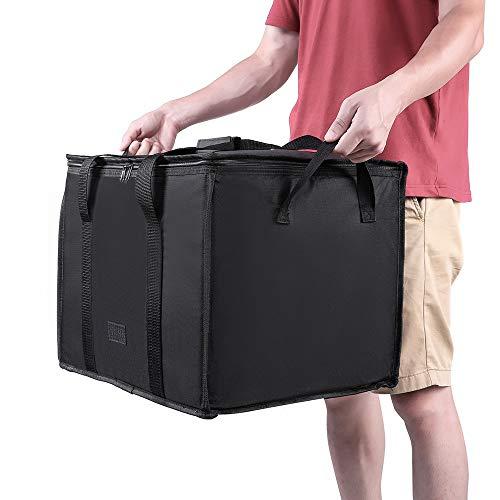 SXCXYG Bolsa Isotermica 58L Bolsa de comestibles Reutilizable aislada Bolsa de comestibles Tote Grande Caja de Compras Bolsas aisladas con Tapa con Cremallera Bolsa Nevera (Color : Black)