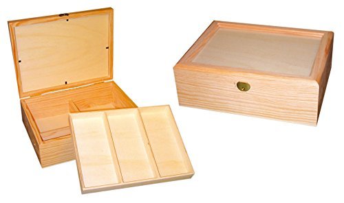 Caja joyero madera. Con tapa de cristal, interior con divisiones ideal para...
