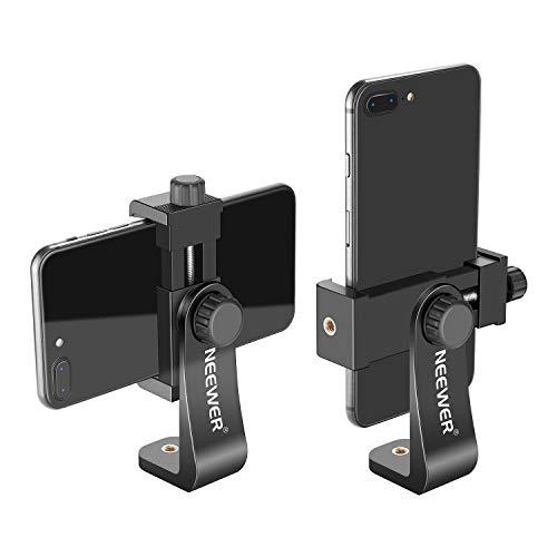 Neewer Soporte para Smartphone Vertical con Trípode de 7,6 CM Adaptador de Trípode para iPhone 12/11 Pro Max / X / XR Galaxy S20+ / S20 Huawei P40 Pro y Otros Teléfonos (Negro)