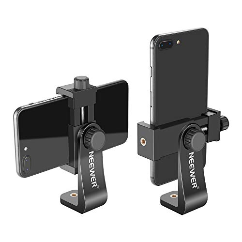 Neewer Smartphone Holder Vertical Bracket with 1/4-inch Tripod Mount - Phone Clip Tripod Adapter Compatible with iPhone 12/11 Pro Max/X/XR, Galaxy S20+/S20, Huawei P40 Pro and Other Phones (Black)