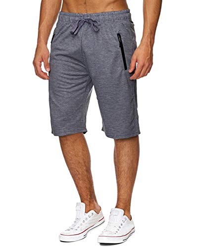 Voncheer Mens Casual Summer Elastic Waist Drawstring Shorts with Zipper Pockets (L, Dark Grey Mens Shorts)