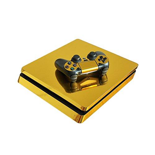 DOTBUY PS4 Slim Skin Aufkleber Sticker Design Folie schützende Haut Schale für Sony Playstation 4 Slim Konsole und 2 Dualshock Controller (Glossy Gold)