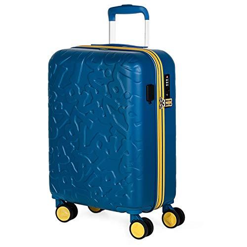 Lois - Kleine cabinekoffer voor korte reis. USB-poort Trolley met 4 wielen 55 cm. ABS Handbagage Stijf licht en mooi dressoir. Lage kosten TSA-slot. Kwaliteit 171150, Color Blauw
