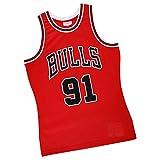 Dennis Rodman - Camiseta de baloncesto para hombre, diseño de Chicago Bulls 91#, clásico bordado sin mangas, chalecos estilo hip hop de los 90 años para fiesta