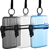 3 Pieces Waterproof Case ID Card Badge Holder Floating Sports Case Locker with Hanging Ring and Rope 12 x 7.5 x 4 cm (Clear, Gray, Blue)