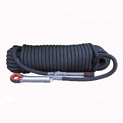 Corde de sécurité multifonctionnelle Extérieur Escalade corde avec mousquetons Arbre matériel d'escalade Activités de plein air for 10MM 20MM (noir) Heavy Duty Mountain Equipment pour Randonnée Alpini