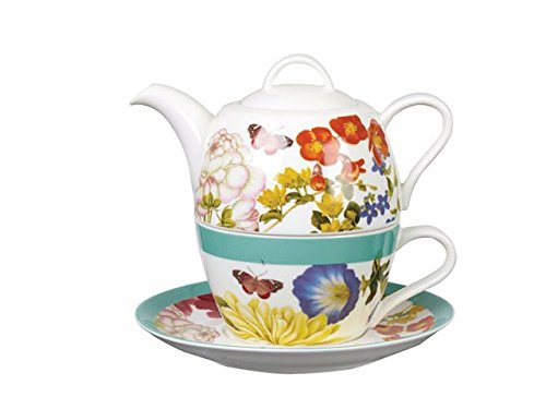 RHS Ent Papillons et Fleurs Admiral T41 Manches et Soucoupe, Porcelaine, Multicolore, 8.9 x 8.3 x 9 cm