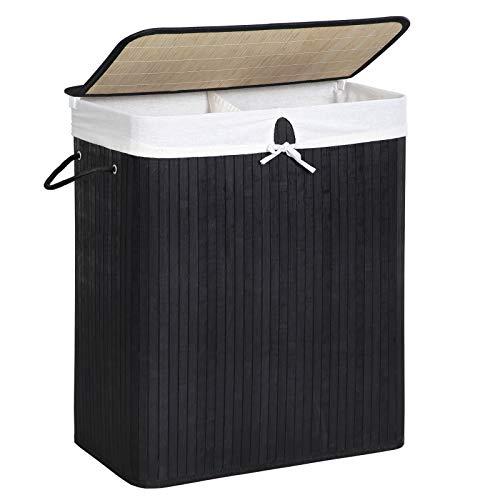 SONGMICS Wäschekorb Bambus Faltbar Wäschebox mit 2 Fächern Wäschetonne mit Herausnehmbaren Wäschesack Tragegriff, Wäschesack aus Baumwolle, 100 L, rechteckig LCB64BK