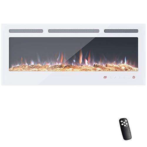 KUPPET 127 cm Elektrischer Kamin Versenkt und an der Wand Montiert mit Sicherheitsabschaltung & Digitaler LED-Anzeige, Touchscreen-Bedienbildschirm & Fernbedienung & Timer, Weißes Glas