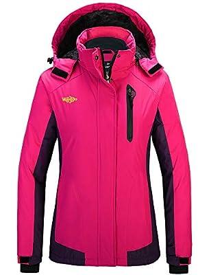 Wantdo Women's Waterproof Ski Jacket Fleeced Windbreaker Rose Red Dark Purple XL