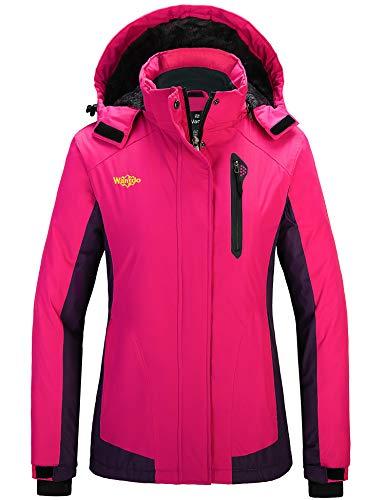 Wantdo Damen Wasserdichte Skijacke Berg Schnee Mäntel Kapuze Winddicht Parka - Pink - X-Large
