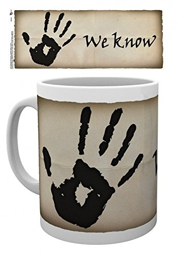 1art1 Skyrim, The Elder Scrolls V, We Know Foto-Tasse Kaffeetasse (9x8 cm) Inklusive 1x Überraschungs-Sticker