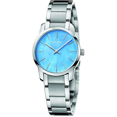 Calvin Klein Women's Silver Blue Quartz Watch CK City K2G2314X