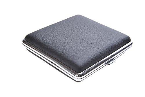 Quantum Abacus Zigarettenetui aus hochwertigem Stahl, elegant zurückhaltend Dank schwarzer Applikation aus echtem Leder, für 18 Zigaretten, Mod. 500-02 (DE)