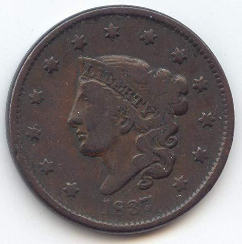 1837 Coronet Head Large Cent Choice Fine Details