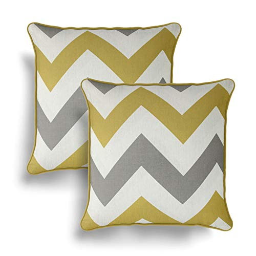 IT IDEAL TEXTILES Set of 2 Ochre Chevron Cushion Covers, Pair of Yellow Zig Zag Design Cotton Cushion Covers, Piped Trim Cushion Cases, Sofa Chair Throw Pillow Cases, 17' x 17', 43cm x 43cm