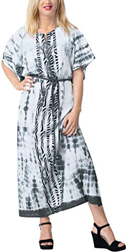 LA LEELA Mujeres Caftán Rayón túnica Tie Dye Kimono Libre tamaño Largo Maxi Vestido de Fiesta para Loungewear Vacaciones Ropa de Dormir Playa Todos los días Cubrir Vestidos Halloween Negro_X737