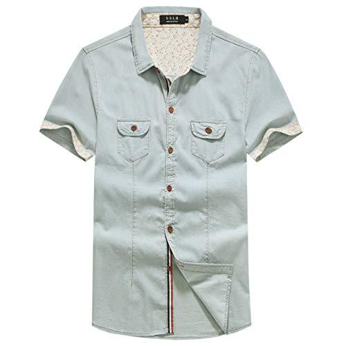SSLR Men's Button Down Casual Short Sleeve Denim Shirt (Large, Blue)