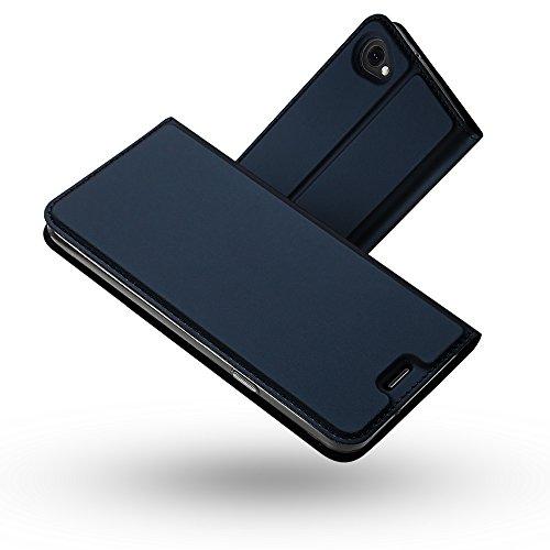 Radoo LG Q6 Leder Schutzhülle, Premium PU Leder Handyhülle Brieftasche-Stil Magnetisch Folio Flip Klapphülle Etui Brieftasche Hülle [Karte Halterung] Schutzhülle Tasche Hülle Cover für LG Q6 (Blau)