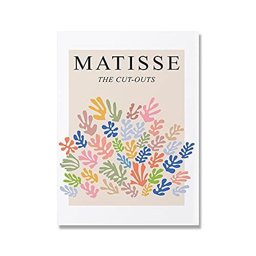 Impresiones de arte abstracto de Matisse, cuadro de flores rosas y azules, decoración de arte de pared de museo, pintura de lienzo sin marco B6 60x90cm