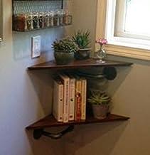 Pair of Industrial Style Corner Shelves - Pipe Corner Shelf Set