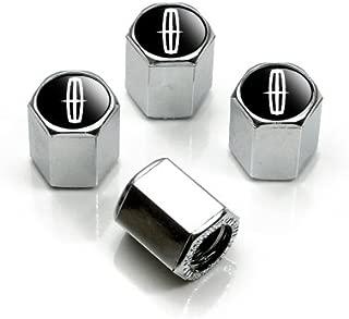 Lincoln Silver Logo Chrome Tire Stem Valve Caps