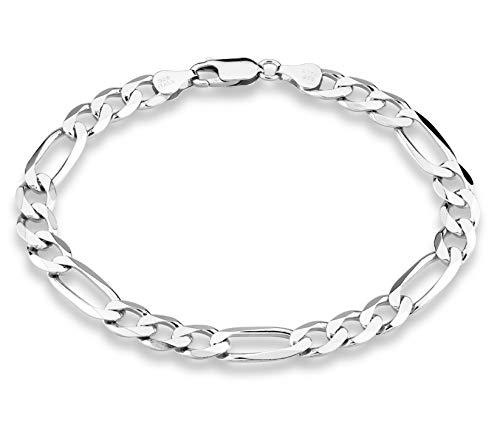 Miabella 925 Sterling Silver Italian 7mm Solid Diamond-Cut Figaro Link Chain Bracelet for Men, 7, 7.5, 8, 8.5, 9 inch (9 Inches)